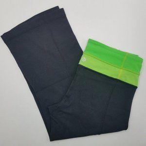 Lululemon Groove Black & Lime Crop Yoga Pants